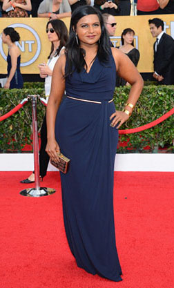 LOS ANGELES, CA - JANUARY 18:  Actress Mindy Kaling attends the 20th Annual Screen Actors Guild Awards at The Shrine Auditorium on January 18, 2014 in Los Angeles, California.  (Photo by Ethan Miller/Getty Images)